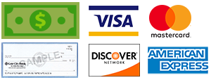 We accept cash, approved check and credit/debit cards.  There is no additional fee for processing credit/debit cards.